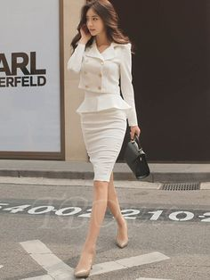 Tbdress.com offers high quality Lady Bodycon Button Pain Blazer Women's Skirt Suits unit price of $ 49.99.