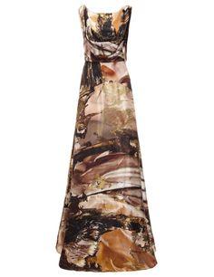 Gold Leaf Print Silk Gown | Giles | Avenue32