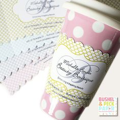 Custom Cup Sleeves  Scallop Pattern by BushelandPeckPaper on Etsy