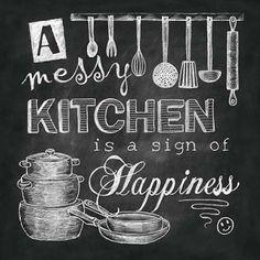 chalkboard messy kitchen- Dona Knold