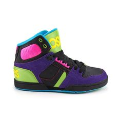 bottledwaternom's save of Womens Osiris NYC 83 Slim Skate Shoe, Purple Black Lime | Journeys Shoes on Wanelo