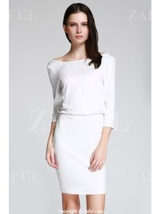 Open Back 3/4 Sleeve Bodycon Dress WHITE: Bodycon Dresses | ZAFUL