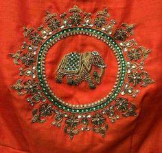 Embroidery Neck Designs, Embroidery Works, Hand Embroidery, Silk Saree Blouse Designs, Saree Blouse Patterns, Zardosi Work Blouse, Anarkali Tops, Salwar Pattern, Zardosi Embroidery
