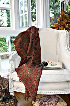 Early 1900's Contintental Paisley Country Wool Cotton Shawl Throw