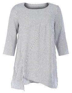 Leinenshirt mit asymmetrischem Saum von Isolde Roth in Schwarz / Weiß. Leinenshirt mit asymmetrischem Saum im navabi Designermode Shop bestellen.
