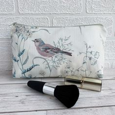 Make up bag, Cosmetic Bag with Chaffinch, Wild Flowers and Grasses £6.00