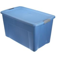 Sterilite Latching 35-gal. Storage Tote in Lapis Blue-19451004 - The Home Depot