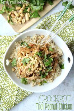 Crockpot Thai Peanut Chicken -- FamilyFreshMeals.com (Try sunbutter & sunflower seeds.)