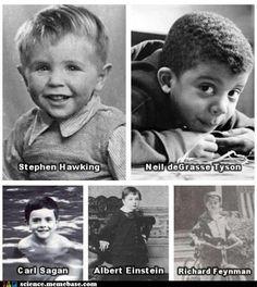 Baby pictures of Stephen Hawking, Neil deGrasse Tyson, Carl Sagan, Albert Einstein & Richard Feynman.