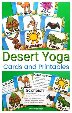 These fun desert themed yoga cards and printables are perfect to incorporate movement into your lesson plans.  Great to use in the classroom, OT, PT, daycare or at home.  Perfect for preschool, kindergarten and up.  #kidsyoga