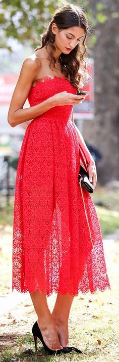 Red Lace Strapless Maxi Dress