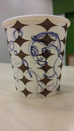 Art on Cups, bardakta çizim.  Ahtapot ve boloncuklar. Lovely Octopus and bubbles.