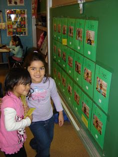 Wall Story - Good literacy center for the beginning of the year! Awesome intro to patterned books. Also, to scaffold this center you could write the first few letters of each student's name under their picture. If a student is having trouble they can lift the picture for some help!