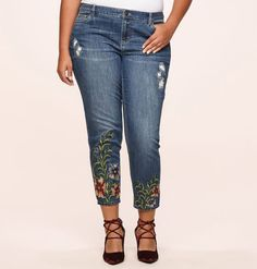 7a1e348e5fb1a Discover beautiful new denim looks for your wardrobe like our plus size  Floral Embroidered Hem Ankle