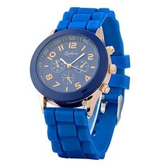 fc7fa3c2f INSTEN Unisex Fashion Analog Quartz Silicone Jelly Sports Wrist Watch, Dark  Blue Unisex Fashion,