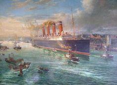 RMS Mauretania leaving the Tyne