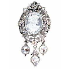Price :$16.99 Rich Sparkling all over Silver Lady Cameo Framed Brooch Material Used : Silver Diamante Cameo Brooch / Pendant with Clear & AB Crystals fully decorated & encrusted Crystals  Color : Silver Brooch  Size : 1 1/2 inches wide & 3 inches long