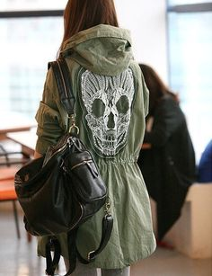 Ladies Back Skull Military Outwear Anorak Parka Trench Hooded Jackets Coat Mtp | eBay