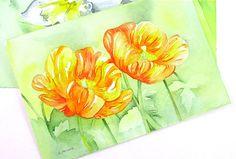 Original Floral Watercolor for Sale Orange California Poppies 4 x 6. $28.95, via Etsy. See my original flower paintings at 6catsart on etsy. © 2012 Corinne Aelbers