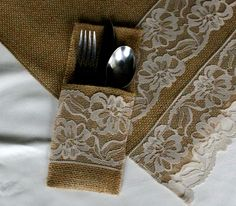 Burlap silverware holders and runner PACKAGE enclude's SiX pockets and ONE 84 inch RUNNER. $45.00, via Etsy.