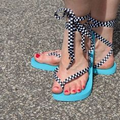 Turn cheap flip flops into awesome 80's lace up sandals.