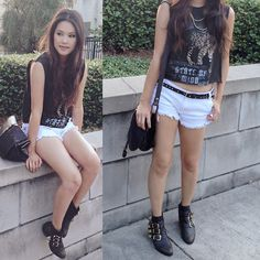 Diy Crop Top, Zara Studded Belt, Lucky Brand Leather Shoulder Bag, Steve Madden Studded Boots, Vintage Chain