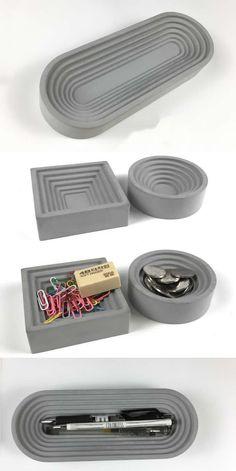 Concrete Pen Pencil Holder Storage Arts Office Desk Stationery Organizer Paper Clip Container Holder Business Card Holder