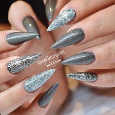 These claws give us pause. Love the drama of these digits by by modernsalon Goth Nails, Stiletto Nails, Swag Nails, Gorgeous Nails, Pretty Nails, Hair And Nails, My Nails, Polka Dot Nails, Nail Candy