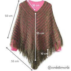 Poncho Calado A Crochet - Diy Crafts - hadido Crochet Scarves, Crochet Shawl, Crochet Clothes, Crochet Girls, Diy Crochet, Crochet Designs, Crochet Patterns, Diy Crafts Knitting, Ladies Poncho