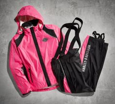 Many times you ride to escape. But in the rain, you ride to be seen. | Harley-Davidson Women's Pink Hi-Vis Packable Rain Suit