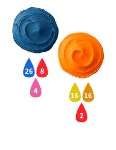 Blue and Orange Buttercream Icing Color Key Orange Buttercream, Blue Icing, Buttercream Icing, Icing Color Chart, Color Mixing Chart, What Colors Make Orange, Blue Party Foods, Food Coloring Mixing Chart, Nerf Cake