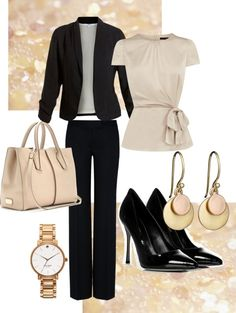 """Work Outfit"" by twinkle0088 on Polyvore. LOVE coupling of a romantic top with a regal business suit!"