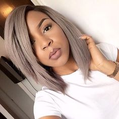 HAIRSPIRATION  Love this silver #lob on #mua @lolaoj✂️ Her makeup is flawless  #voiceofhair ========================= Go to VoiceOfHair.com ========================= Find hairstyles and hair tips! =========================