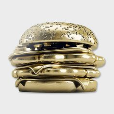 """Golden Burger"" - Limited Edition Print by Antoni Tudisco for Curioos Fine Art Prints, Canvas Prints, Art Plastique, Limited Edition Prints, 3d Design, Graphic Design, Framed Art, Sculptures, Digital Art"