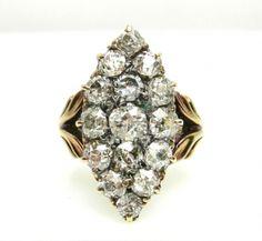 Edwardian Marquise Diamond Cluster Ring
