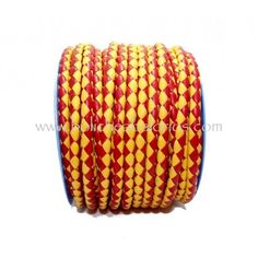 Braided Leather, Leather Cord, Spain Flag, Appliques
