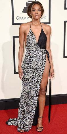 Grammys 2016 Red Carpet Arrivals. Ciara's twist on black and white wearing Alexandre Vauthier Haute Couture
