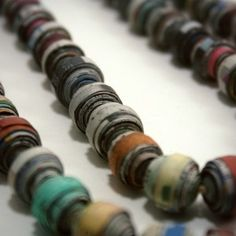 Double Strand Newspaper Bead Necklace