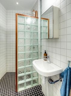 Glass brick shower wall