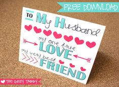 Printable Anniversary Cards For Husband – Hotel Gardini Free Printable Anniversary Cards, Free Printable Birthday Cards, Cool Birthday Cards, Homemade Birthday Cards, Birthday Crafts, Printable Cards, Printable Valentine, Birthday Ideas, Birthday Quotes
