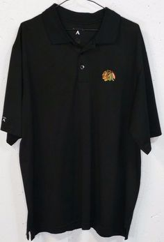 Antigua Mens Embroidered Polyester Chicago BlackHawks Short Sleeve Polo Shirt XL #Antigua #PoloRugby