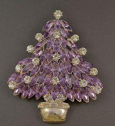 Eisenberg Ice Purple Lavender Navette Christmas Tree Pin Z Rhinestone Jewelry, Vintage Rhinestone, Vintage Brooches, Purple Jewelry, Jeweled Christmas Trees, Holiday Tree, Xmas Tree, Antique Jewelry, Vintage Jewelry