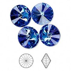 Chaton, Swarovski crystal rhinestone, Crystal Passions®, sapphire, foil back, 14mm faceted rivoli (1122). Sold per pkg of 4. http://www.firemountaingems.com/itemdetails/H207411CY