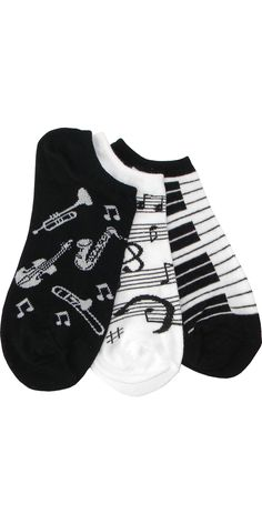 Three Musical Pack (1 Piano, 1 Instrument, 1 Music Note) Footie in Black and White