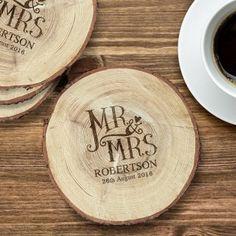 Engraved Dotty Mr and Mrs Log Coaster Set