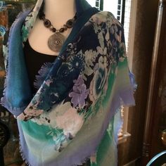 "Beautiful Floral Scarf  NWOT Very nice size - 74"" x 23"".  Very soft and light weight.  New - Never worn. Accessories Scarves & Wraps"