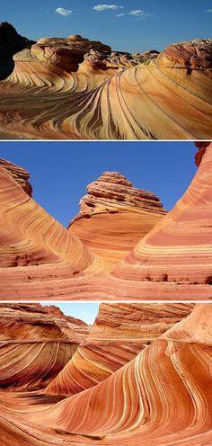 """La """"Ola del Desierto"""" en Arizona   La llamada """"ola del desierto"""", es una formación rocosa modelada magistralmente por el viento, de tan difícil acceso que incluso quienes viajan a fotografiarla, a veces regresan frustrados por no poder encontrarla."""