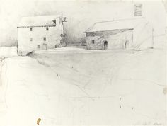 Artwork by Andrew Wyeth, STUDY FOR FLOOD PLAIN, Made of pencil on paper