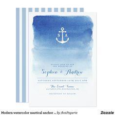 Modern watercolor nautical anchor beach wedding card