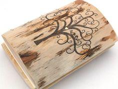 Custom Wedding Guest Book // wood rustic journal // tree of life //  wooden guestbook // love birds // spring wedding